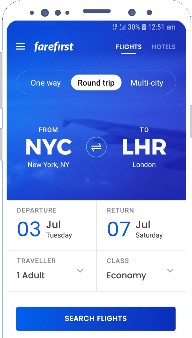 FareFirst Hotel and Flight Booking app